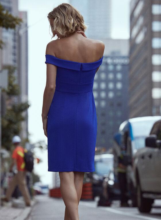Crepe Off-the-Shoulder Dress, Blue
