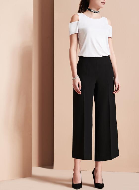 Wide Leg Culotte Pants, Black, hi-res