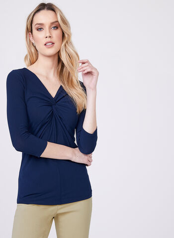 Front Knot Crepe Top, Blue, hi-res