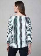 Stripe Print Tie Detail Top, White, hi-res