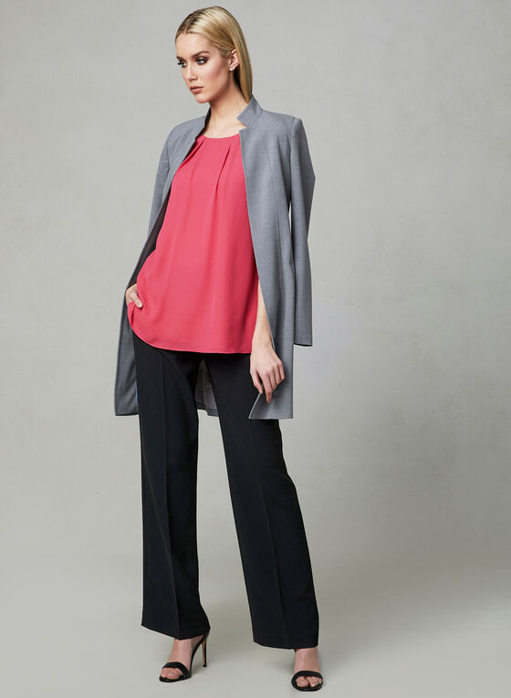 Pleated Chiffon Blouse, Pink, hi-res