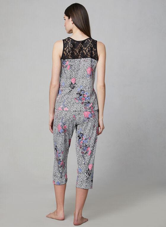 Hamilton - Pyjama 2 pièces motif animalier et fleurs, Noir, hi-res