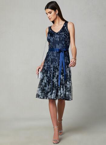 Floral Print Fit & Flare Dress, Blue, hi-res,