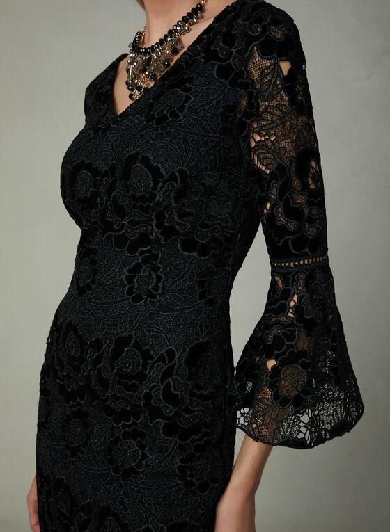 Frank Lyman - Robe en crochet et velours, Noir, hi-res