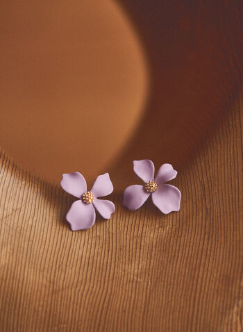 Flower Button Earrings, Purple,  jewellery, accessories, earrings, button, flower, metallic, spring summer 2021