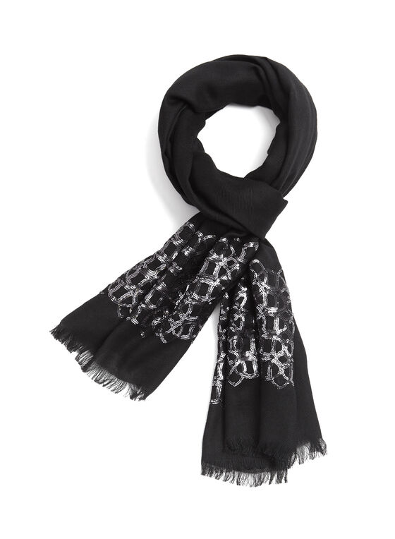 Sequin Pashmina Scarf, Black, hi-res