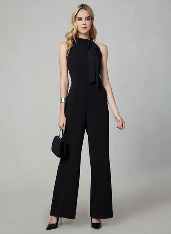 Sleeveless Jumpsuit , Black, hi-res,  sleeveless, sleeveless jumpsuit, jumpsuit, wide leg, wide leg jumpsuit, chiffon, fall 2019, winter 2019