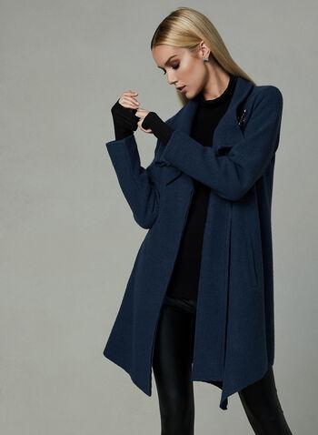 Manteau en laine avec fermoir crochet, Bleu, hi-res