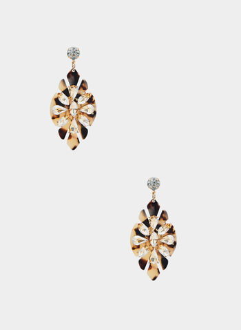 Tortoise Shell Dangle Earrings, Brown, hi-res