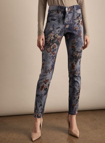 Jeans réversible à jambe étroite, Bleu,  jeans, jambe étroite, uni, fleuri, réversible, coton, printemps été 2020