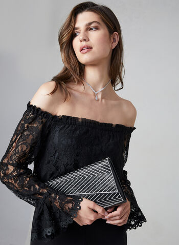 Adrianna Papell - Lace Jumpsuit, Black,  fall winter 2019, lace. long bell sleeves
