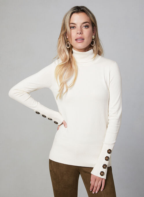 Button Detail Turtleneck Sweater, Off White