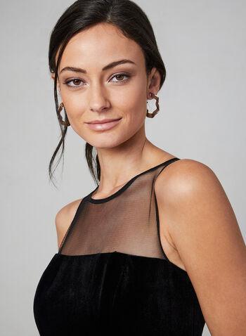 Aidan Mattox - Velvet & Mesh Dress, Black,  dress, velvet, mesh, sleeveless, a-line, Aidan Mattox, fall 2019