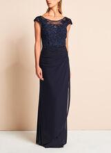 Robe de soirée glamour à dentelle et strass, Bleu, hi-res