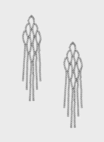 Crystal Encrusted Chandelier Earrings, Silver, hi-res