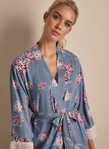 Comfort & Co. - Floral Print Lace Detail Robe, Blue,  sleepwear, robe, floral, lace, stretchy, 3/4 sleeves, spring summer 2020