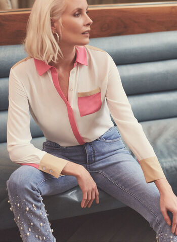 Chemisier à blocs de couleurs, Blanc cassé,  blouse, chemisier, manches longues, boutons, blocs de couleurs, crêpe, printemps été 2021