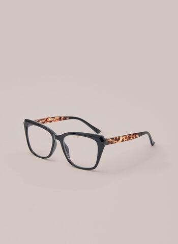 Printed & Monochrome Reading Glasses, Black,  accessories, glasses, reading, tortoiseshell, plastic, rectangle, fall winter 2020
