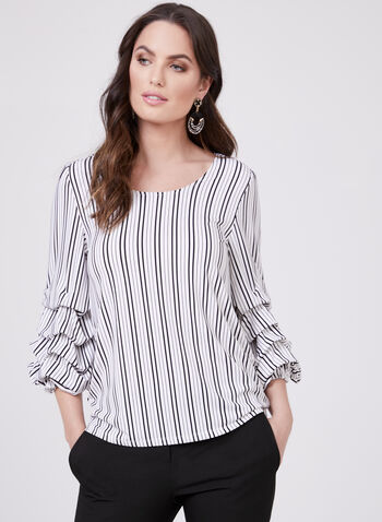 ¾ Sleeve Striped Blouse, Black, hi-res