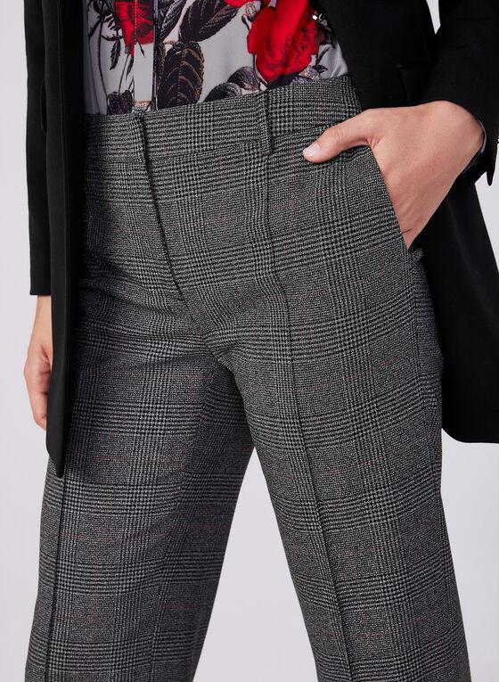 Plaid Print Wide Leg Pants, Black, hi-res