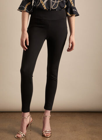 Frank Lyman - Bow & Zip Detail Pants, Black,  pants, pull-on, zip, bow, stretchy, slim leg, spring summer 2020