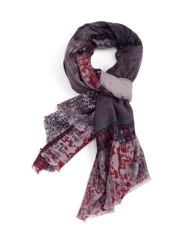 Patchwork Print Fringed Scarf, Red, hi-res
