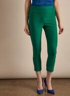 Zipper Hem Pull-On Capris, Green