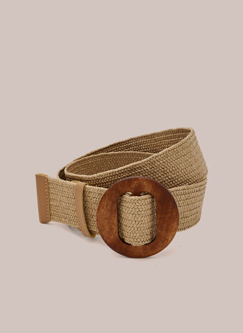 Braided Belt With Wood Buckle, Brown,  belt, braided, wood, round, buckle, spring summer 2020