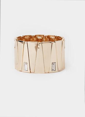 Rectangular Stone Stretch Bracelet, Gold,  bracelet, stretch, wide sectioned, rectangular stone inserts, fall 2019