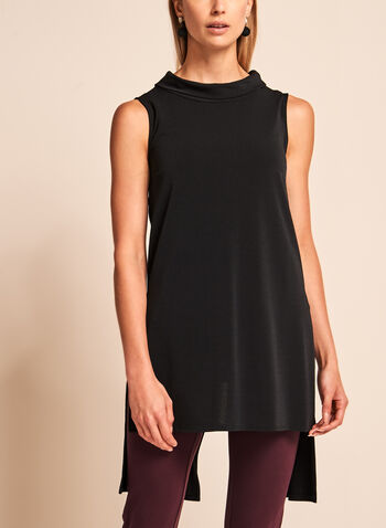 Cowl Neck High-Low Tunic, Black, hi-res