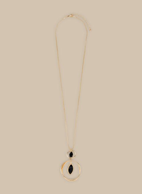 Collier long à anneaux et pierres, Noir
