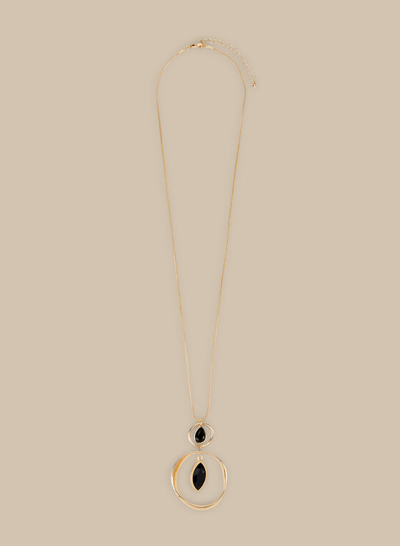 Long Ring Pendant Necklace, Black