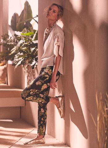 Pantalon pull-on à fleurs, Noir,  pantalon, pull-on, jambe étroite, bengaline, fleurs, automne hiver 2020