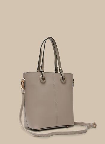Lot de 2 sacs en similicuir, Blanc cassé,  sac cabas, pochette, similicuir, œillets, printemps été 2020