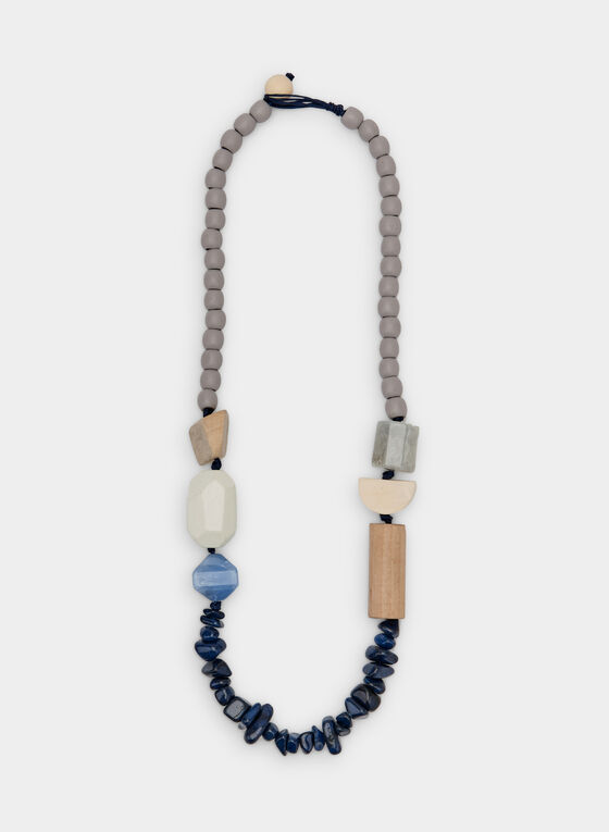Collier asymétrique à billes variées, Bleu, hi-res