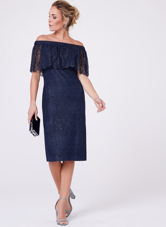 Cachet - Off-The-Shoulder Lace Dress, Blue, hi-res