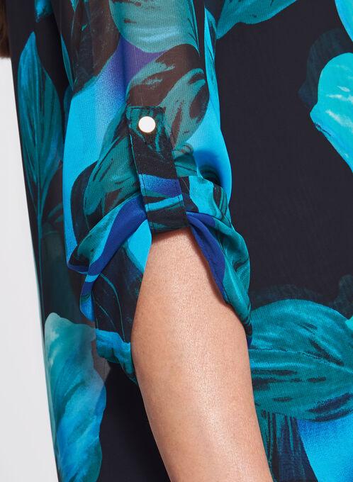 Frank Lyman - Blouse asymétrique fleurie à manches longues , Bleu, hi-res