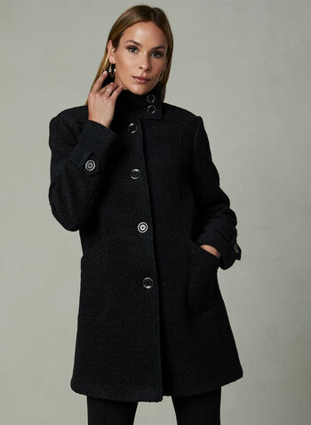 Bouclé Wool Coat, Black, hi-res