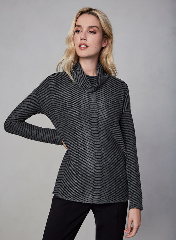 Linea Domani - Striped Top, Grey, hi-res