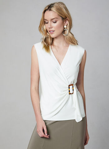 Sleeveless Faux Wrap Top, Off White, hi-res,  buckle, tortoise shell, sleeveless, jersey