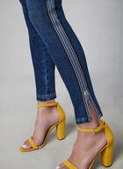 Jeans à jambe étroite et bandes colorées, Bleu, hi-res