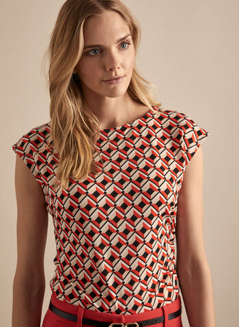 Geometric Print Top, Orange,  Canada, geometric print, print, top, cap sleeves, short sleeves, spring 2020, summer 2020