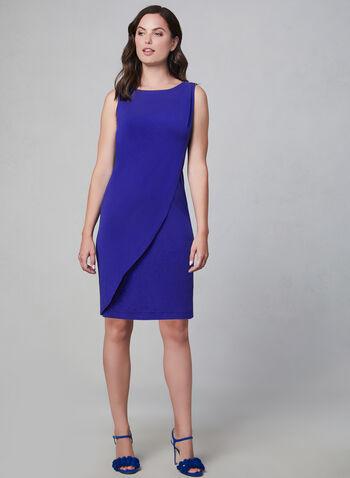 Kensie - Robe fourreau à effet superposé, Bleu,  automne hiver 2019, robe, robe courte, robe de jour, jersey, superposition, fourreau, sans manches