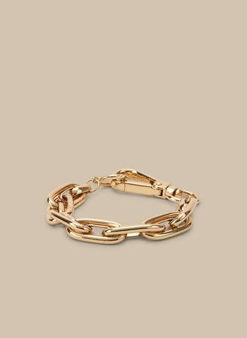 Oval Link Chain Bracelet, Gold,  bracelet, metallic bracelet, metallic, link chain bracelet, oval, spring 2020, summer 2020