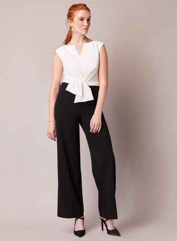 Jumpsuit With Waist Tie Detail, Black,  fall winter 2020, bow, wide leg, cap sleeves, split neckline, holiday, tie