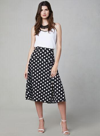 Polka Dot Print Midi Skirt, Black, hi-res,  button details, flared, spring 2019, summer 2019