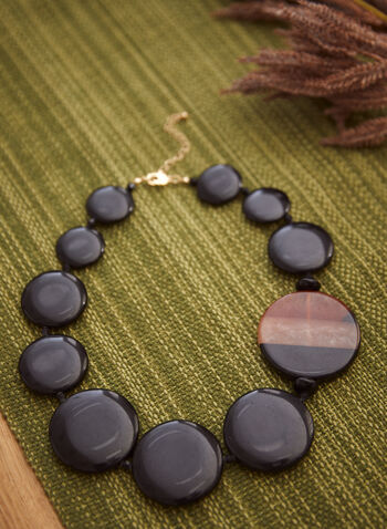 Large Disc Necklace, Black,  fall winter 2021, jewelry, jewellery, accessory, accessories, discs, short, round, gold metal, resin,