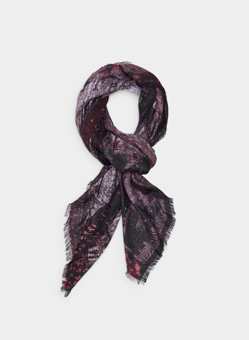 Train Print Scarf, Red,  scarf, fringes, train, fall 2019, winter 2019