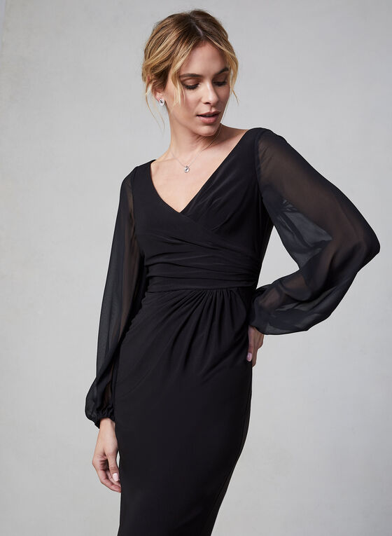 Adrianna Papell - Sheer Sleeve Dress, Black, hi-res