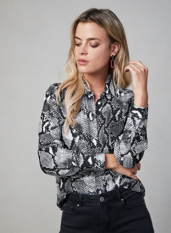 Snake Print Blouse, Black, hi-res,  long sleeves, chiffon, button down, fall 2019, winter 2019